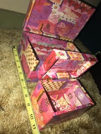 Pink and purple floral print wooden boxes Jackson, 39206