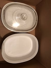 Two Corningware Casserole Baking Dishes plus Glass Lid   Barrie