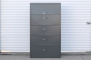 Gray Steelcase Lateral File Cabinet w/ Recessed Handles & 5 Drawers