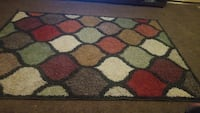 red, white, and black area rug Odessa, 79762