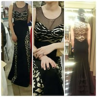 black white sweatheart top long gown\
