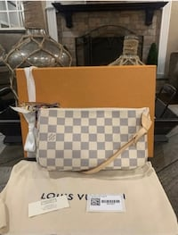 100% Authentic Louis Vuitton Pochette Accessories Damier Azur