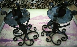Vintage Wrought Iron Candle Holders