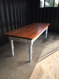 Solid wood Harvest Table, $1,200 each.  Or best offer ! Great for dining  & office desk. Restored in excellent condition . Black or white legs
