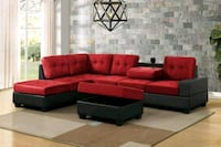 [CLEARANCE] Heights Red/Black Reversible Sectional Houston, 77036