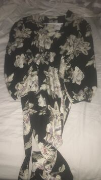 Black and gray floral robe