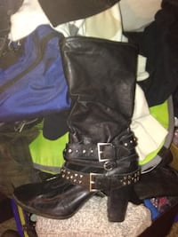 black leather boots with bag Glendale