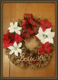 REDUCED Christmas Burlap Wreath. Great gift idea! Oshawa, L1H 2K2