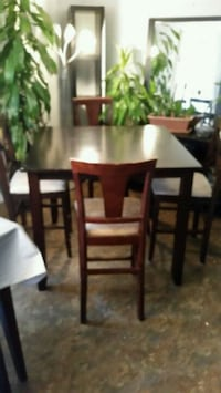 rectangular brown wooden table with six chairs dining set 790 km
