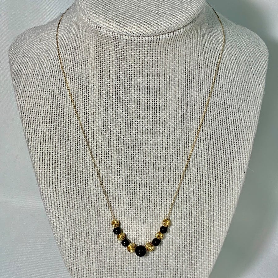 Vintage 14k Gold Black Onyx Bead Necklace Chain