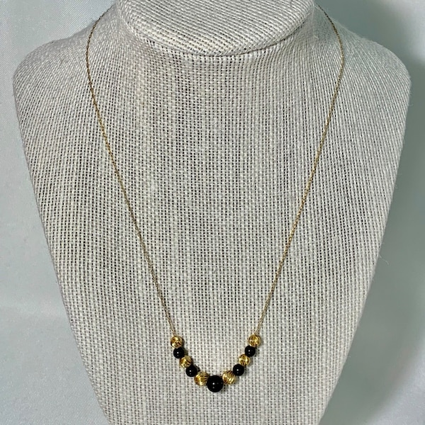 14k Gold Black Onyx Bead Necklace Chain