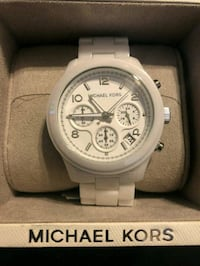 round white chronograph watch with silver link bracelet El Monte, 91733