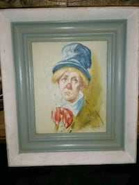 Estate sale oil painting Leigh Clown with top hat. Woodbridge Township, 07067