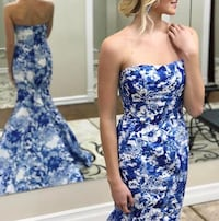 Stunning blue and white Sherri Hill floral gown - worn a few hours  Warwick, 02886