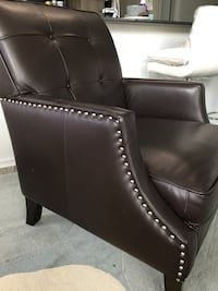 Dark Brown leather padded sofa chair Surrey, V4N