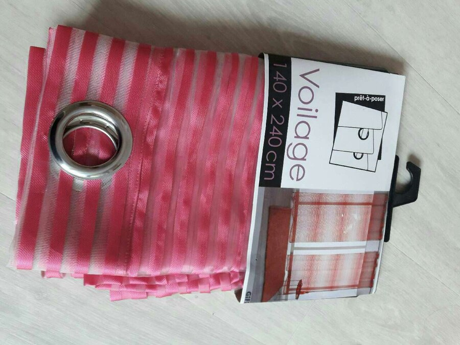 Red Voilage shear grommet curtain