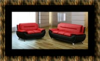 Red/black sofa and loveseat 2pc set Cheverly