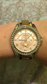 Rose gold and silver Fossil watch
