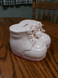 Pink booties baby bank