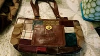 brown and black leather tote bag