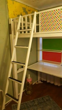 Twin metal loft bed with shelf desk and ladder