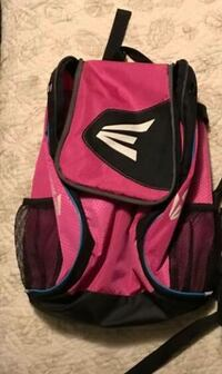Pink and black small softball bag