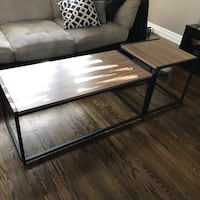 Black metal framed brown wooden coffee table Toronto, M1E 2Z7