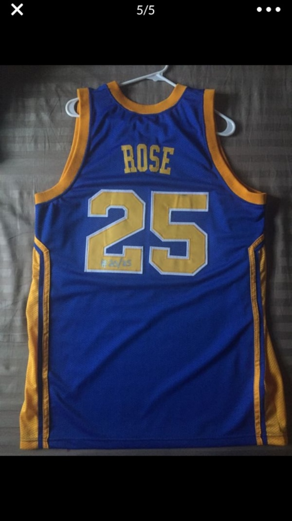 los angeles 76336 b37b8 Derrick Rose Simeon high school jersey signed. Sticker of authenticity.