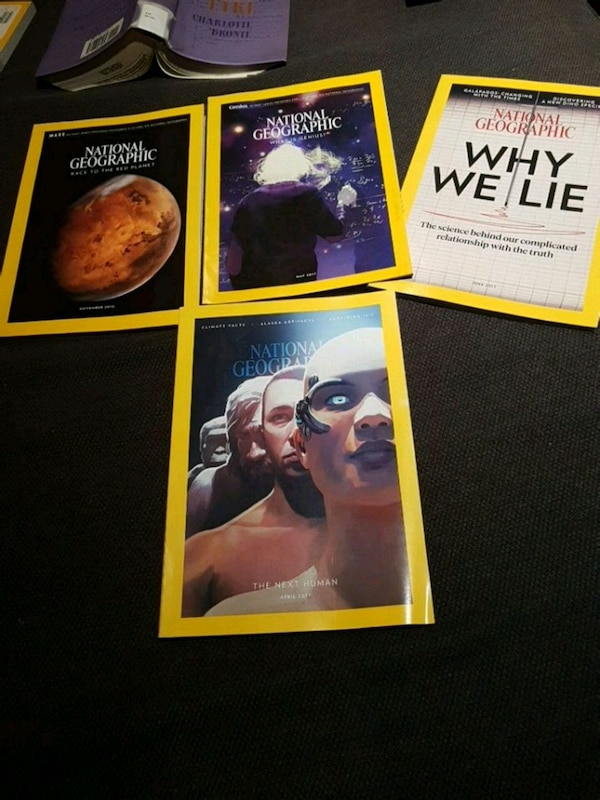 four National Geographic magazines