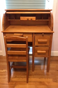 Kids Hardwood frame roll top hutch desk with chair