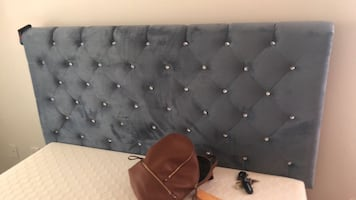 Queen size Upholstered gray bed with rhinestones