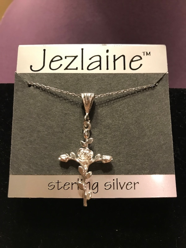 Beautiful!! Sterling Silver Rose Cross Necklace