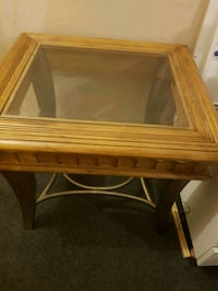 Antique glass metal and wood lamp side table. Granville, 2142