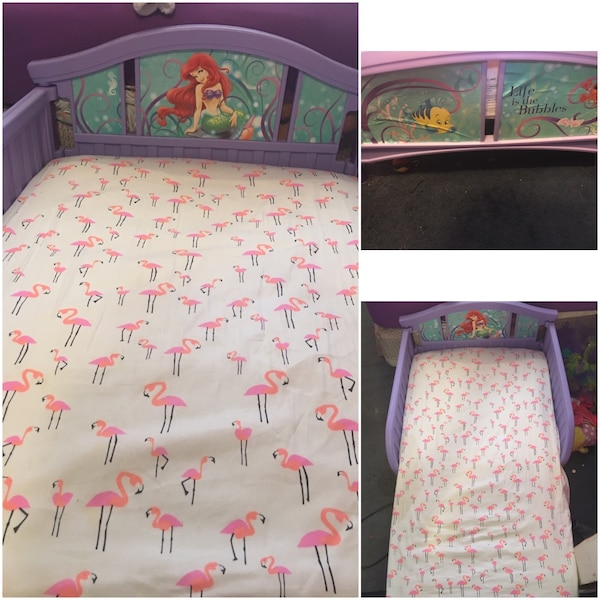 Used Purple The Little Mermaid Bed With Mattress For Sale In