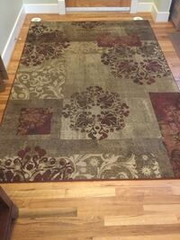 Brown and white floral area rug Rocky View No. 44, T3Z 3C7