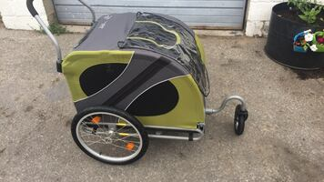 Yellow and Black Doggy Bicycle Trailer