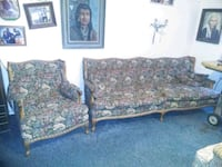 two brown and blue floral fabric sofa Corrales, 87048
