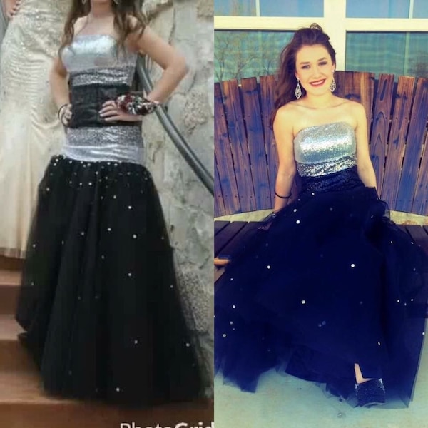 Used Black And Silver Sequin Strapless Prom Dress For Sale In San