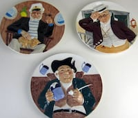 Davenport set of three 3D Collectible Plates Vienna