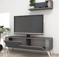 Grey wooden tv stand