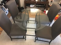 Round Glass Dinning table with 4 parson's chairs Toronto