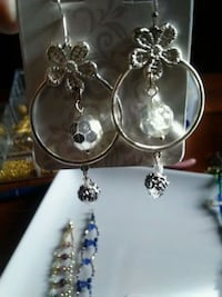 two silver-colored and clear gemstone encrusted earrings Great Falls, 59401