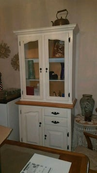 white wooden framed glass display cabinet 3118 km