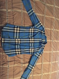 Blue, black, and gray plaid Burberry sport shirt Elizabeth, 07201