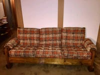 Plaid wood couch, ottoman, 2 chairs, side table  Calgary, T3S 0A6
