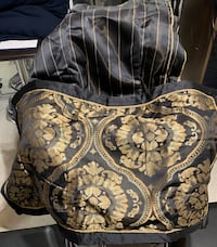 Black and gold pillow shams with bed skirt. Mississauga, L5R