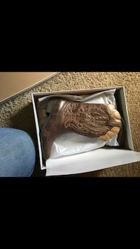 Brown leather cowboy boot in box 225 mi
