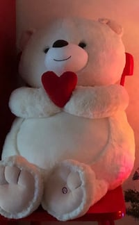 White and red bear plush toy- 2.5 feet long Toronto, M2H 2Y3