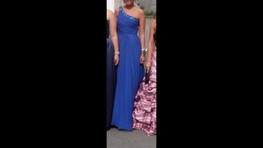 One shoulder blue beaded gown