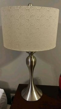 brown and white table lamp La Vergne